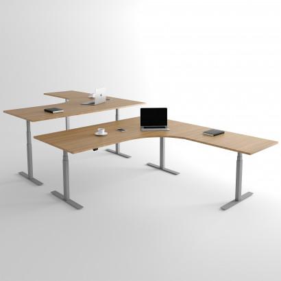 Höj och sänkbart hörnskrivbord, silver stativ och ek skiva - Premium