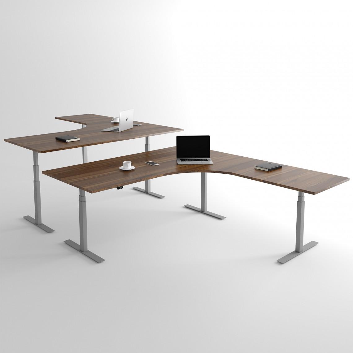 Höj och sänkbart hörnskrivbord, silver stativ och valnöt skiva - Premium