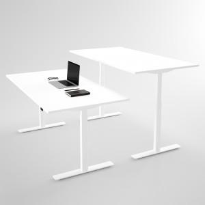 Höj- & sänkbart skrivbord vitt (snö), vitt stativ & vit skiva - Standard