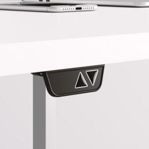 Höj och sänkbart skrivbord, silver stativ och ljusgrå skiva - Standard
