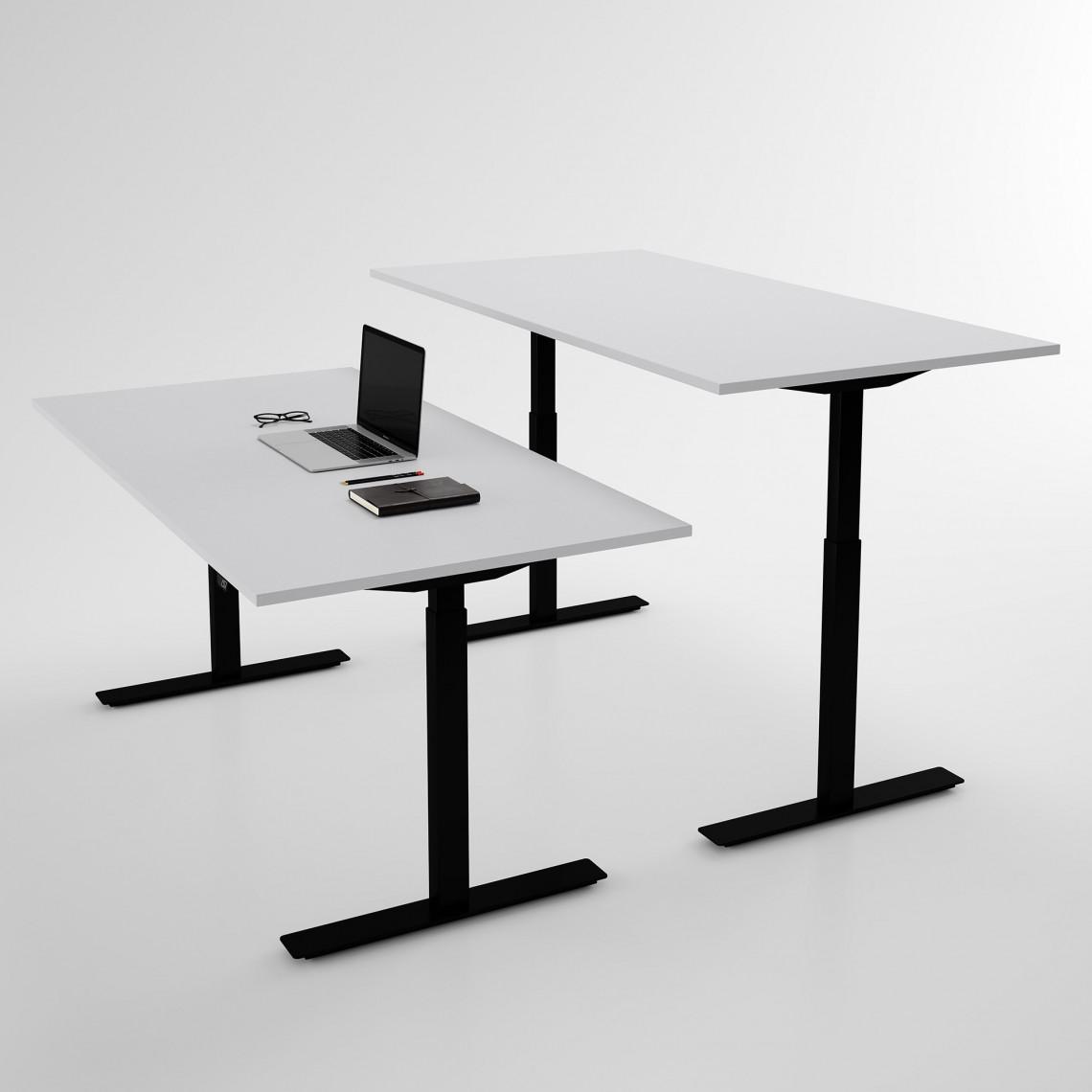 Höj och sänkbart skrivbord, svart stativ och ljusgrå skiva - Standard