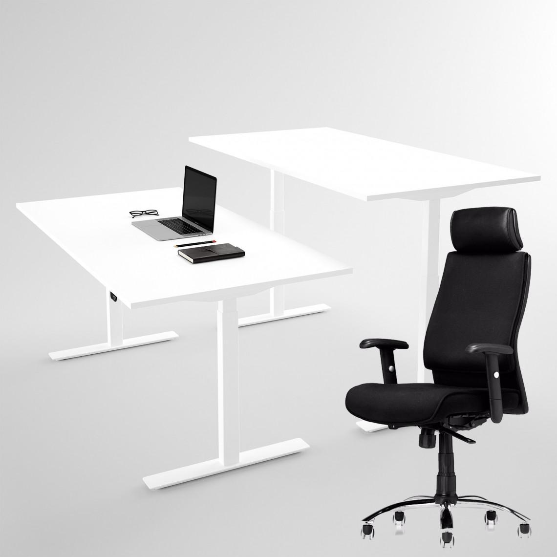 AS6000, kontorsstol + höj- och sänkbart skrivbord vitt 100x60 cm - Komplett arbetsplats