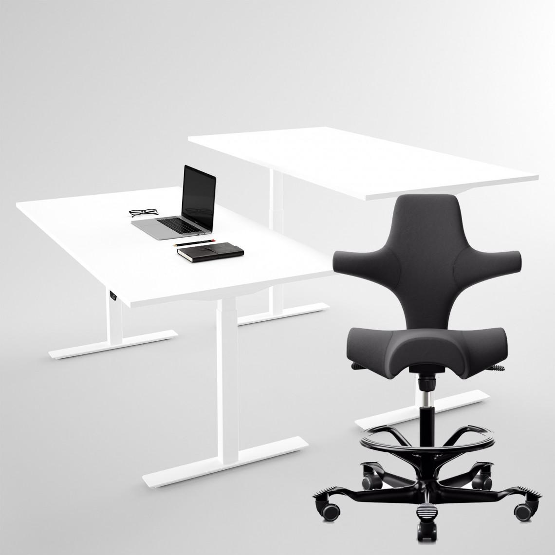 HÅG Capisco 8106, Svart + höj- och sänkbart skrivbord vitt 100x60 cm - Komplett arbetsplats
