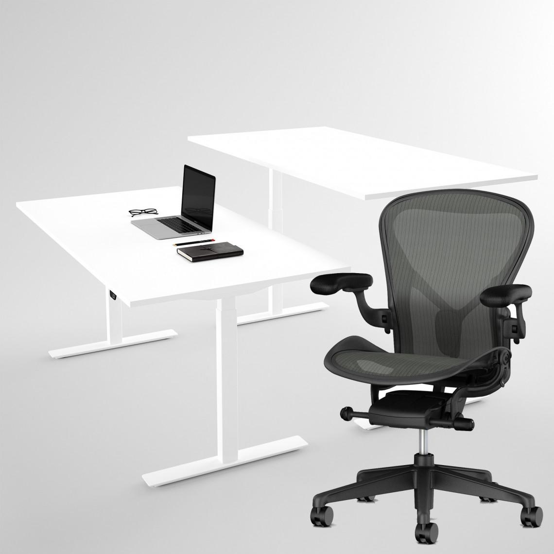 Herman Miller Aeron + Höj- och sänkbart skrivbord vitt 100x60 cm - Komplett arbetsplats