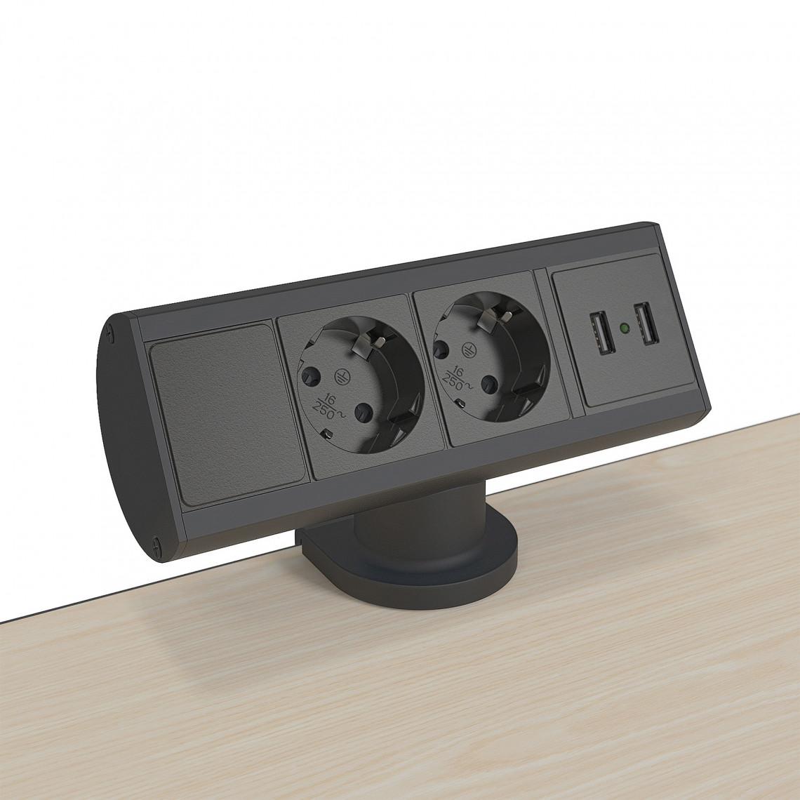 Axessline Desk - 2 El 2 USB Laddare, 31 mm, Svart