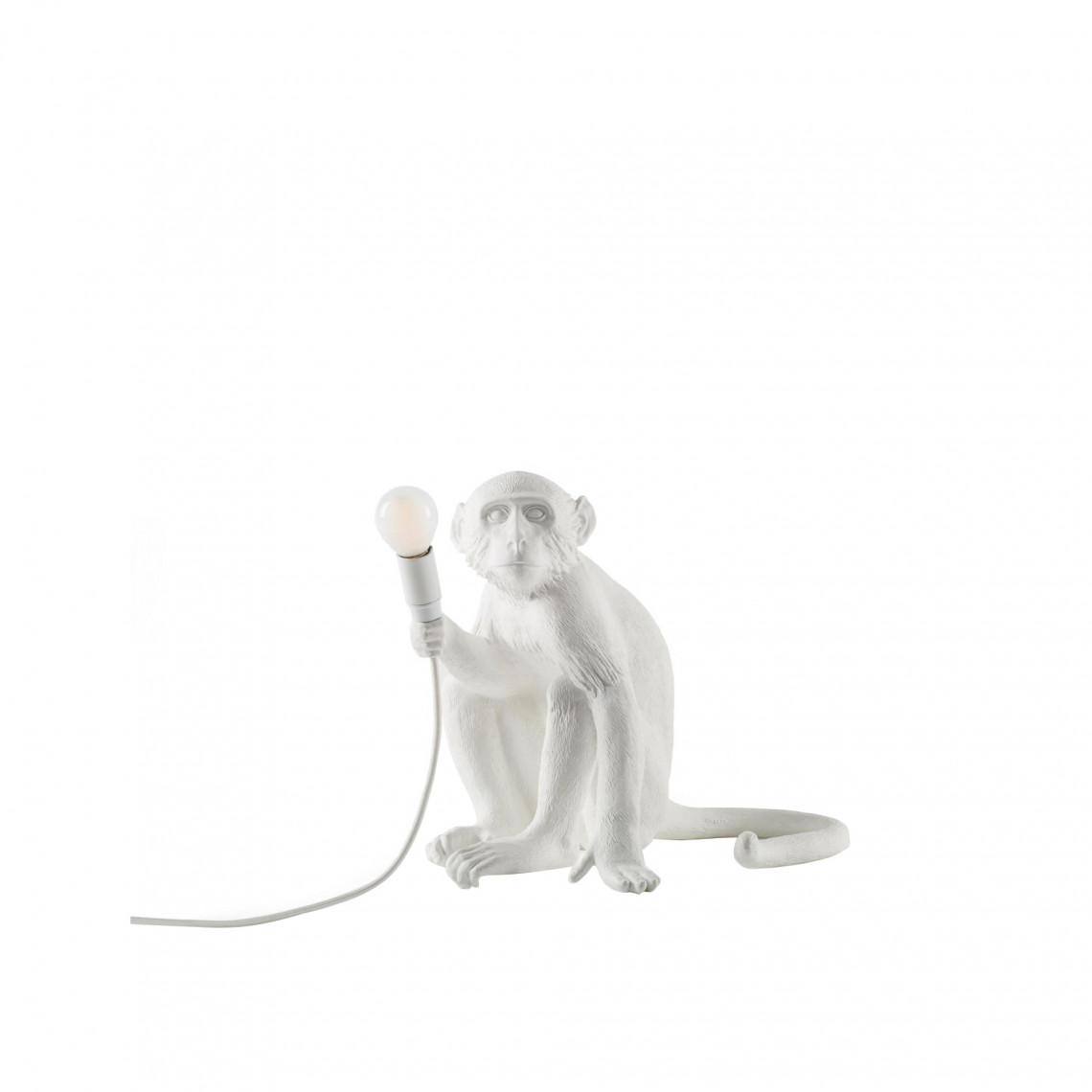Monkey Lamp Sitting - Vit