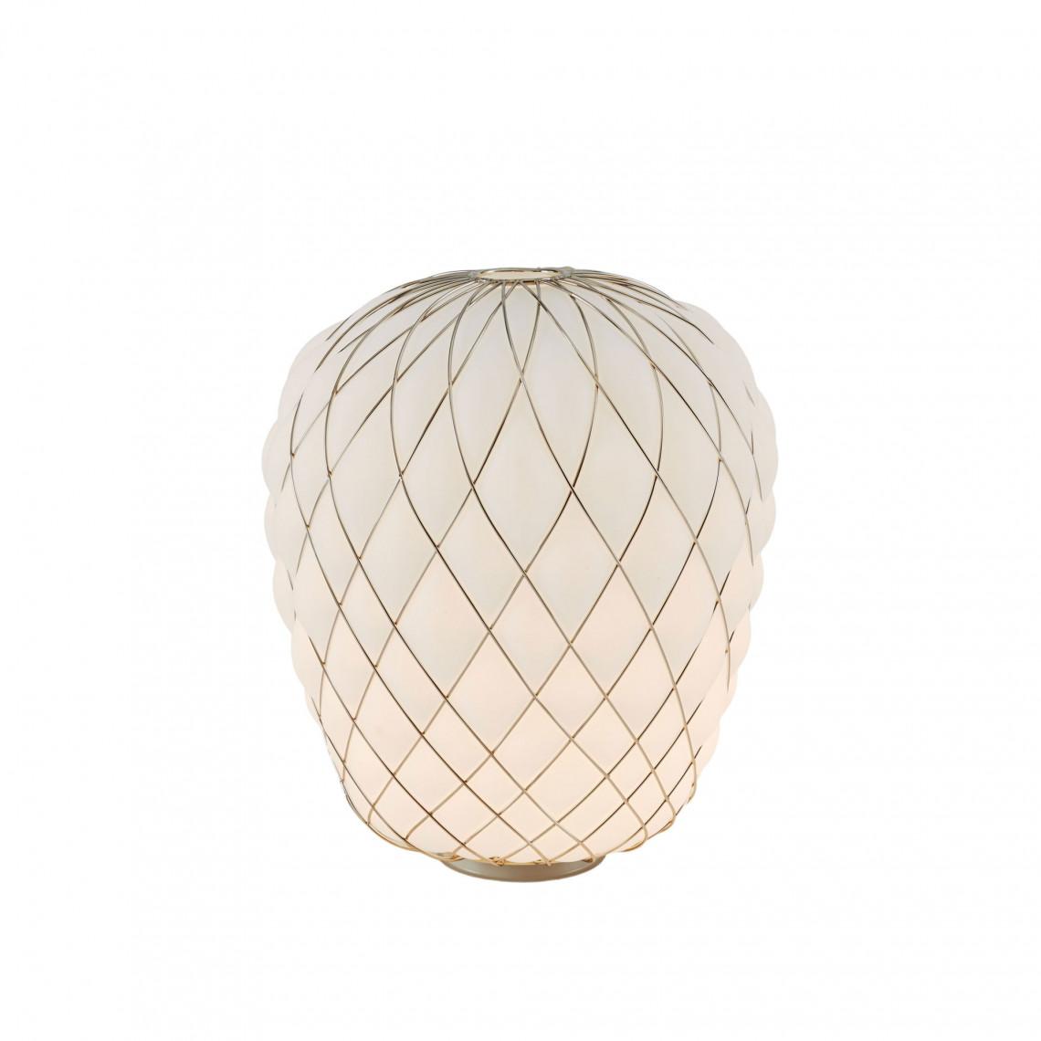 Pinecone - Bordslampa Vitt glas med guldig metallbur