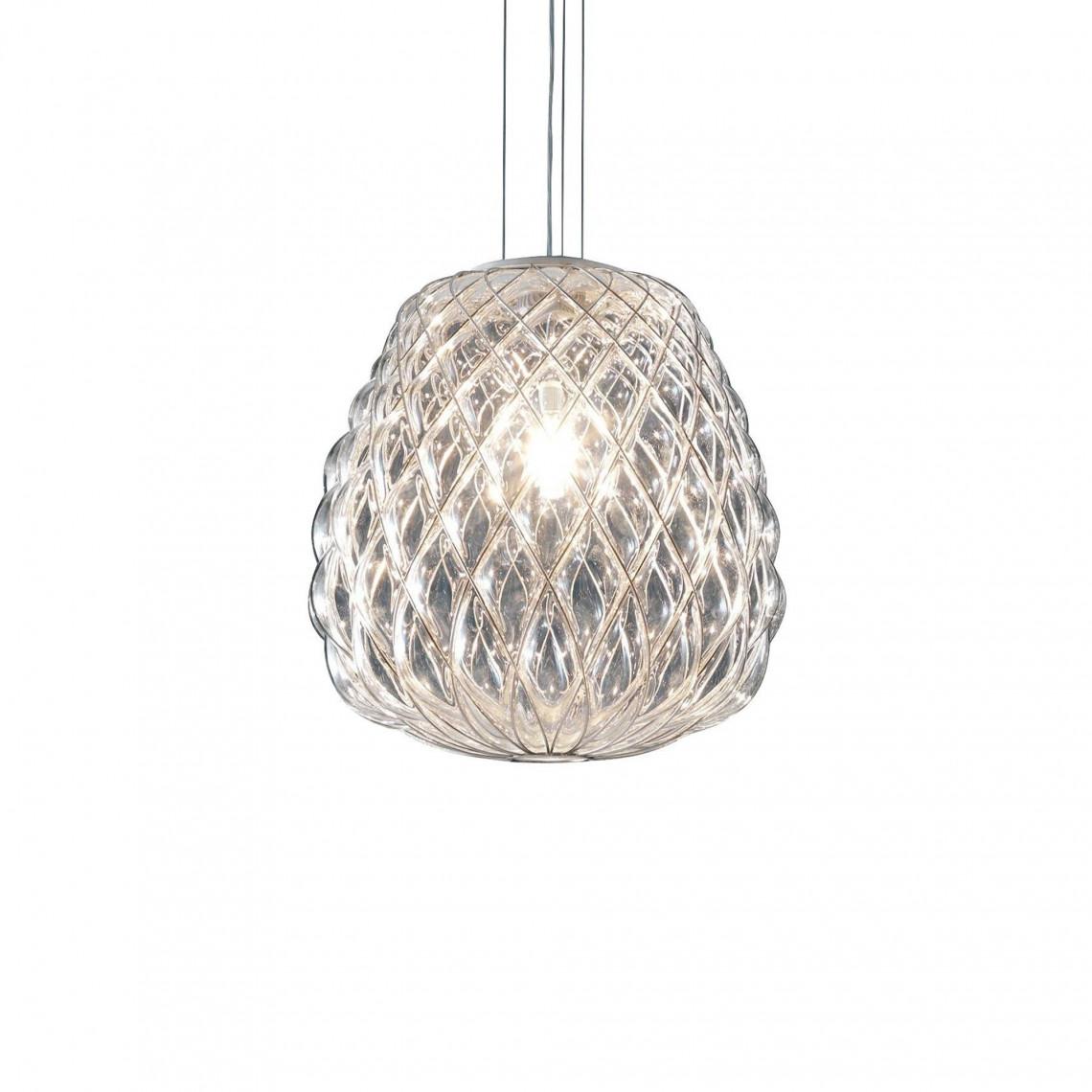 Pinecone - Taklampa Transparent glas med kromad metallbur