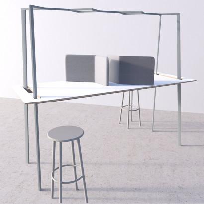 Gather mötesbord grått stativ och vit bordsskiva