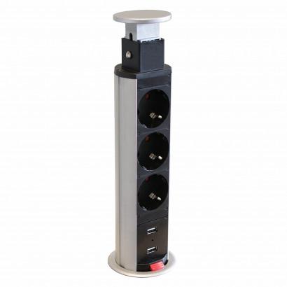 Axessline PopUp - 3 El 2 USB Laddare Ø 60 mm, Silver