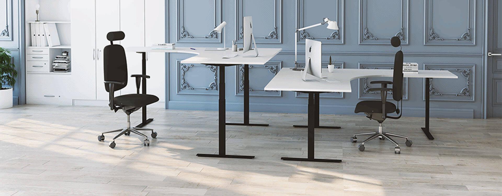 Hörnskrivbord vit skiva